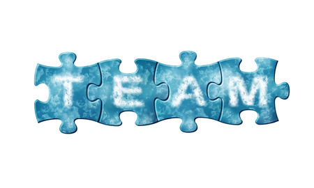Concept of team - puzzle pieces with letters composes word team photo