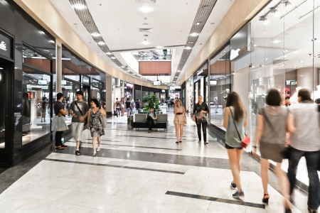 novosibirsk: NOVOSIBIRSK, RUSSIA: JULY 11, 2013 - Interior of modern mall with some people in it