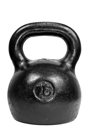 Black 16 kg kettle bell isolated on white background photo