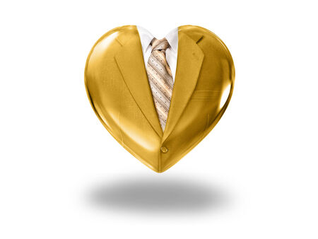 Heart with gold suit and tie - concept of business love
