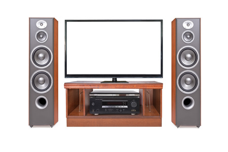 Front shot of home cinema system isolated on white background photo
