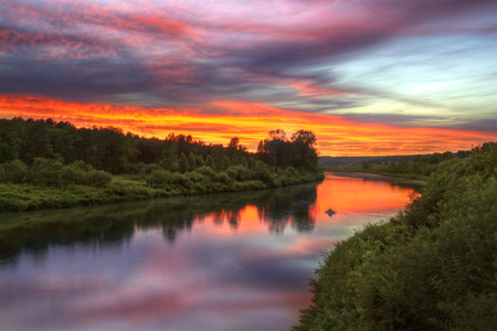 novosibirsk: Inya river in Novosibirsk region during beautiful summer sunset