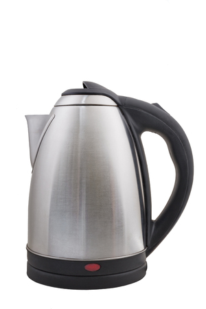electric tea kettle: Stainless electric kettle isolated on white background Stock Photo