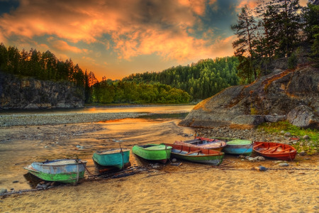 berth: The HDR image of fishermens berth on Biya river coast in Turochak village Altai republic, Russia Stock Photo
