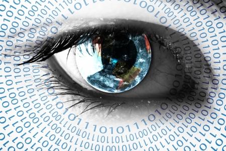 vision future: Aarde in het oog met nummers Stockfoto