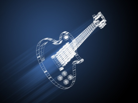 Electric guitar isolated, technology concept, blueprint photo