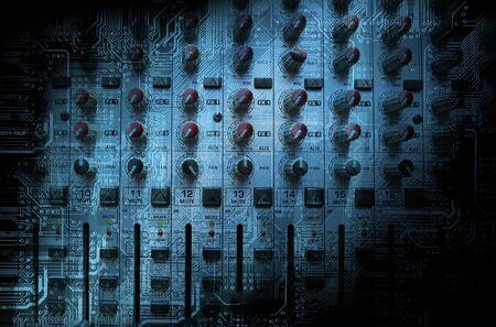 Audio mixing console closeup - music concept, studio shot photo