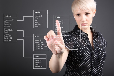 Database Table - technical concept, girl pointing screen photo