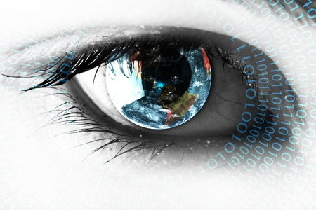 perceptie: Aarde in het oog met nummers Stockfoto