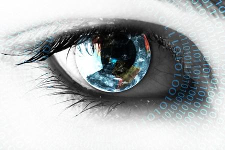 percepción: Tierra en el ojo con los números