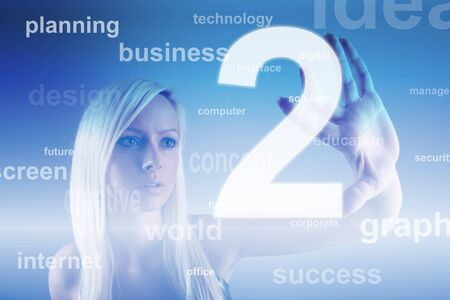 Business concept - girl with screen Stock Photo - 12053212