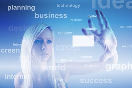 Business concept - girl with screen photo
