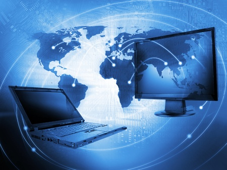 World Business Background with monitors - IT concept Stock Photo - 12053209