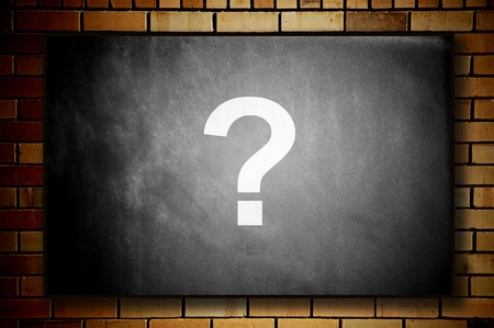 Blackboard with question mark photo