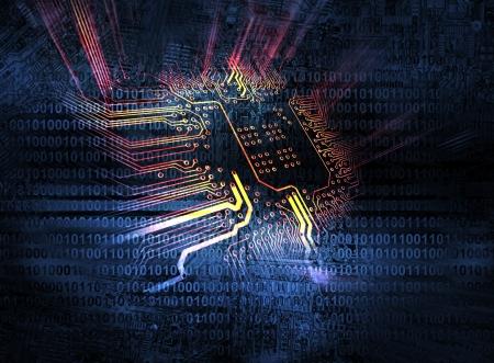 composant ?lectrique: Microchip fond - concept de la technologie Banque d'images