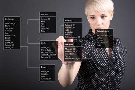 business software: Database Table - technical concept, girl pointing screen