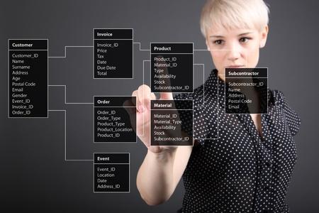 inteligencia: Tabla de base de datos - concepto t�cnico, la pantalla chica apuntando