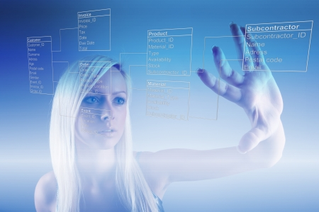 Girl with Database Tables Stock Photo