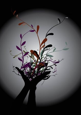 Hand and flowers vector Stock Photo - 13173525