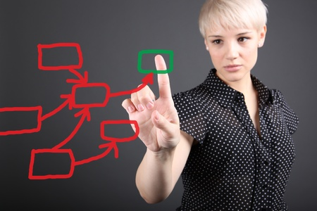decision making concept - business woman touching screen Stock Photo - 13173505