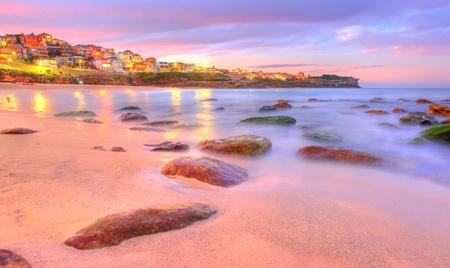 일몰 바다 돌 - 호주 시드니 스톡 콘텐츠