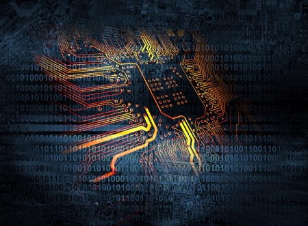 semiconductor: Microchip background - technology concept Stock Photo