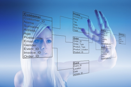Girl with Database Tables photo