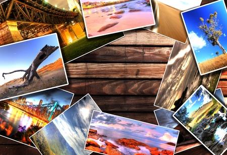 Photos on the wood desk photo