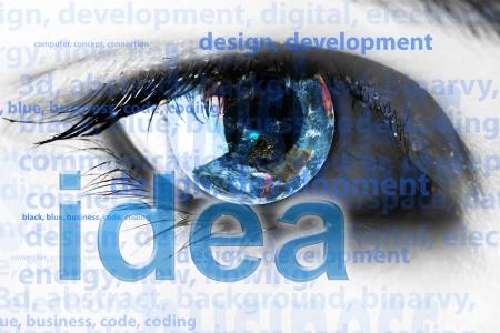 Arrière-plan avec des yeux et des mots - concept d'Internet Banque d'images - 14976968