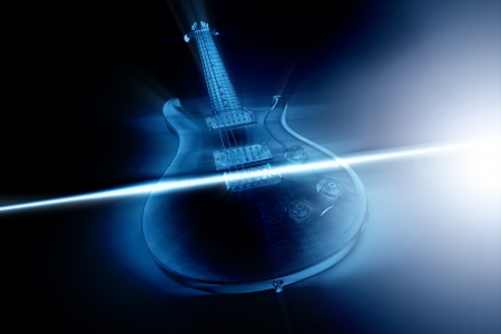 Electric guitar and ray of light photo