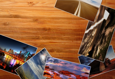 Photos on the wood desk photo