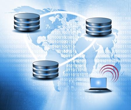 クラウド ・ コンピューティングのコンセプト - ワールド ワイド データ共有とコミュニケーション 写真素材