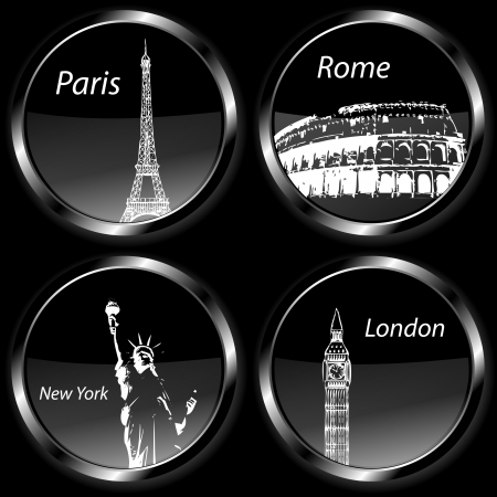 Travel destination badges icons, set with Paris, London, Rome and New York and their landmarks photo
