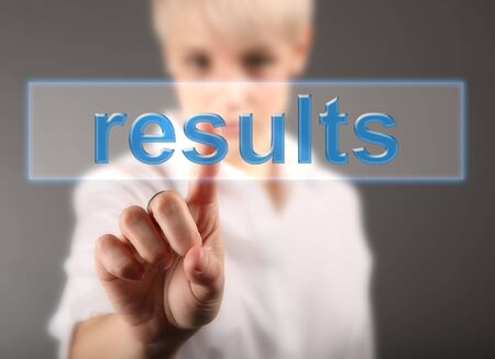 Results business concept - girl touching screen photo