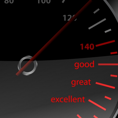 Speedometer  with good great and excellent words photo