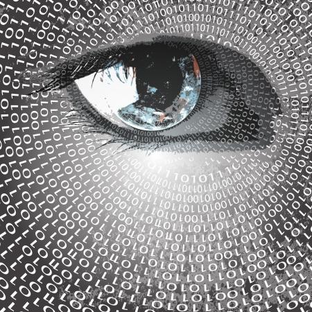 눈과 숫자 개념에 지구 일러스트