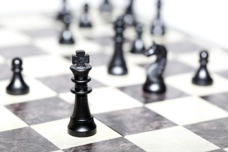 pensamiento estrategico: figuras de ajedrez - Estrategia y concepto de liderazgo Foto de archivo