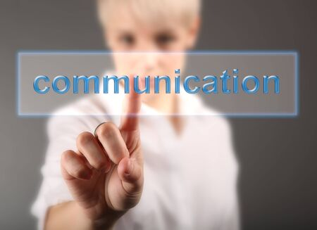 Communication concept - hand and word Stock Photo - 17394525