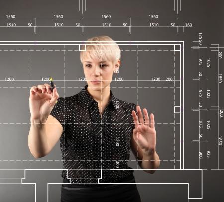 dibujo tecnico: Blueprint concepto de dise�o t�cnico - chica dibujo en la pantalla