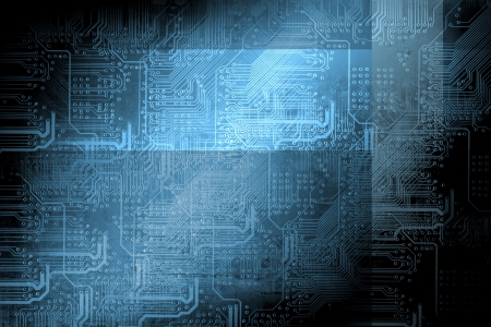 technology concept: Microchip background - technology concept Stock Photo