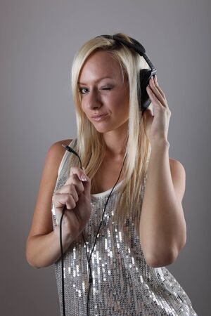 Girl with headphones Stock Photo - 17394747