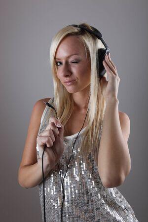 Girl with headphones Stock Photo - 17394747