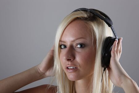 Girl with headphones Stock Photo - 17394896