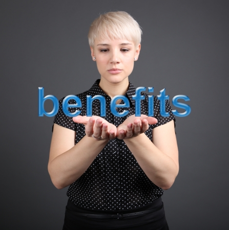 Benefits concept - Business Woman with word photo