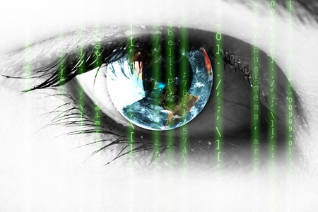 source code: Source code in the eye, technology concept