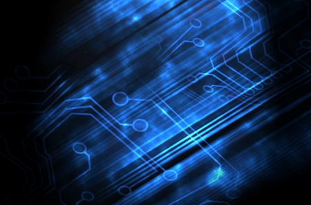 electronic components: Microchip background in color - technology concept Stock Photo