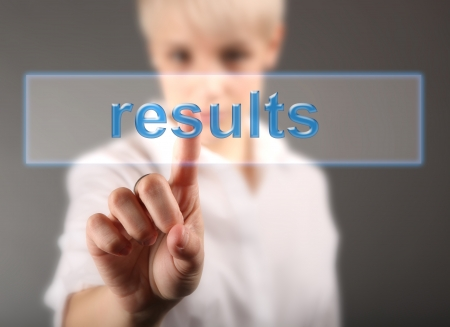 Results business concept - girl touching screen Stock Photo - 17394900