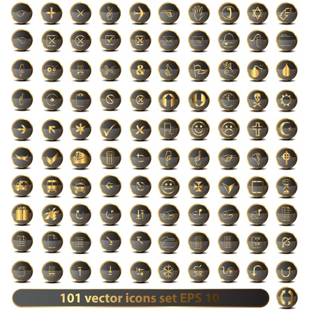Set of 101 golden icons Stock Vector - 17322988