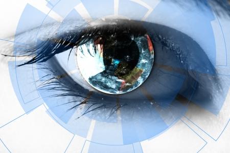 percepción: tecnología en el ojo - concepto de tecnología