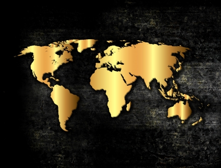 Golden world map in grunge style photo